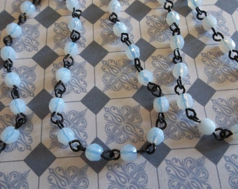 Bead Chain White Opal 4mm Fire Polished Glass Beads on Jet Black Beaded Chain - Qty 18 Inch strand