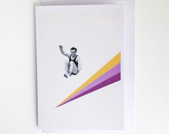 I Can Jump Higher - Retro Blank Greetings Card for Him