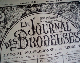 Le Journal Des Brodeuses Magazines for Monograms & Embroidery 1950's