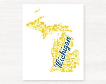 Ann Arbor, Michigan Landmark State Giclée Print - 8x10 - Graduation Gift Idea - Dorm Decor