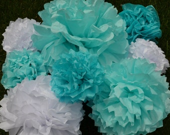Frozen Birthday Party Set of 5 Tissue Paper Pompoms - Your Color Choice