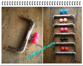 5pieces- 5inch (12.5cm) Candy bead bag purse metal frame with sewing hole (silver 5color bead) / kiss lock frame / bag frame / bag supply