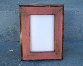 5x7 Picture Frame, Coral Rustic Weathered Style With Routed Edges