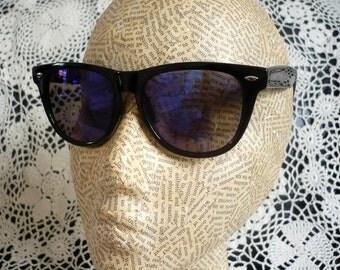 Petrol Blue Reflective Lens Mirror Wayfarer Style Grunge Sunglasses