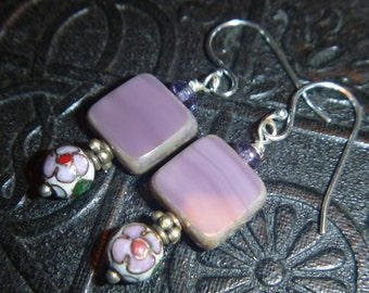 Purple Czech glass and cloissone earrings with sterling silver hooks