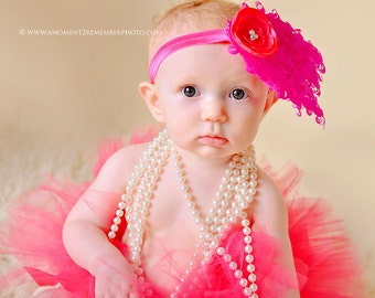 Hot PInk Feather Pad Headband, newborn headband, newborn photography prop, photography prop, girl headband