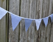 Affordable Mini Pennant Flag Bunting - Baby Boy Blue - Photo Prop, Nursery Wall Hanging, Baby Shower