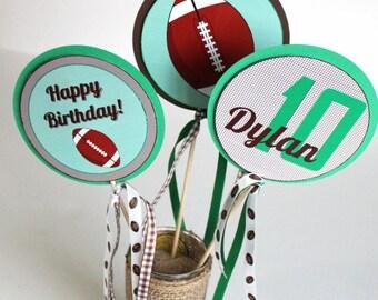 Football party centerpiece sticks - football birthday centerpiece, tailgate party, superbowl party, football. centerpiece set