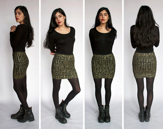 Egyptian Hieroglyph Mini Skirt -  Bodycon Skirt - Gold ink on Black - Egypt - Sexy -Screen Print