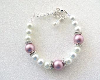 Swarovski Powder Rose White Pearl Bracelet, Powder Rose White Bracelet, Baby Gift Sister Gift, Junior Bridemaid Gift, Pearl Jewelry
