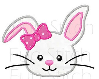 Bunny girl applique machine embroidery design