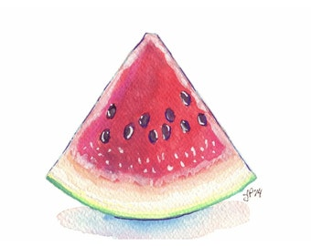 Watermelon Art Watercolor Painting - Red and Green Summer Fruit Still Life Art Print, 5x7