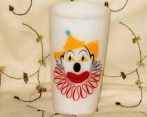 Retro Milk Glass Clown Drinking Glass