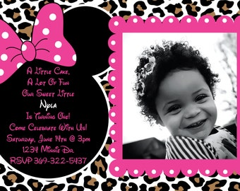 Minnie Mouse Cheetah or Leopard Print Pink Birthday Party Custom Invitation OR Thank you card Very Cute and customizeable - pink or red