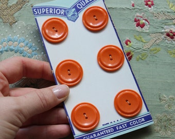 vintage  art deco orange button card  1940 full set early plastic  1 1/16 inches wide