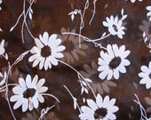 1960s Fabric Sheer Organza Brown with White Daisies Floral Fabric Vintage Sewing Fabric