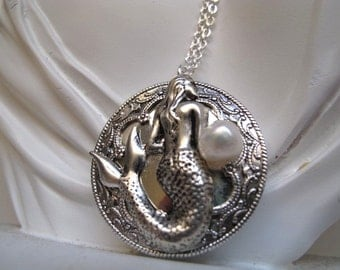 Silver Mermaid Locket. Victorian Mermaid Locket Necklace in  Silver-tone with a Silver Plated 24 inch Rolo chain
