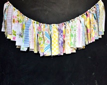 Soft and Sweet Rag Fringe Garland / Spring Easter Decoration / Girl Baby Shower / Baby Girl Nursery / Shabby Chic / Pink Blue Yellow Aqua