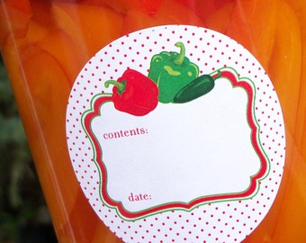 Cute Pepper canning labels, 2 inch round mason jar labels, food preservation stickers, regular or wide mouth