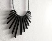 black & grey geometric necklace - contemporary tribal jewelry
