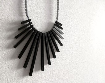 black & grey geometric necklace , contemporary tribal jewelry