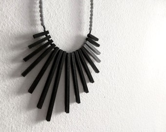 black & grey geometric necklace - contemporary tribal jewelry