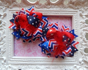 4th of July Hair Bows, Hair bows for July fourth, 4th of July hairbows for girls, hair bows for girls, hairbows, hair bows, 4th of July