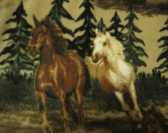 Horses Running with Green Handmade Fleece Blanket - Ready to Ship Now