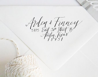 Return Address Stamp Handwritten Calligraphy in Autograph Font for Envelopes Christmas Cards, Thank You Notes Party or Events