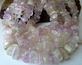 Kunzite Gemstone Beads, Nuggets, Slices, Pastel Pink, Green, Lavender, Clear Crystal, Center Drilled, Natural High Quality Stone, Qty 34 pcs