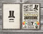 Mustache Carnival Invitation and Thank You cards (sold separately)