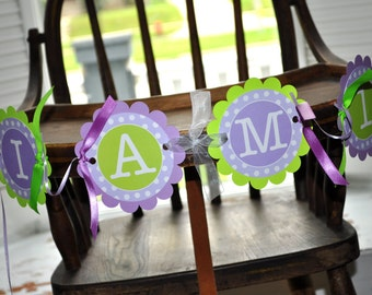 1st Birthday Highchair Banner - Polkadots Lavender Purple and Lime Green - Girls Birthday Party Decorations