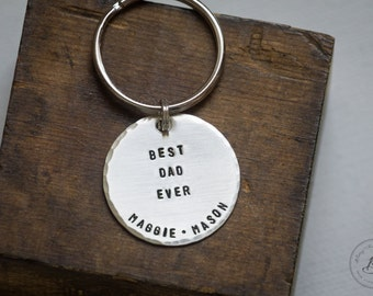 Best Dad Ever Keychain for Fathers Day - Personalized - Hand Stamped Sterling Keychain