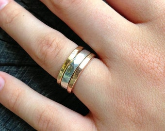 Wide Band Tricolor Stacking Rings