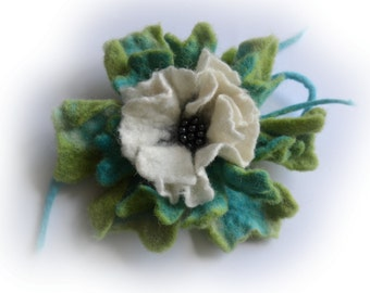 Felt Flower, Big Wool Felted Flower Multicolored, White Light Green and Light Blue Blossom, Statement Corsage Pin, Wool Brooch
