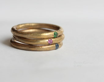 Golden Stacking Rings Brass Rubi Emerald Saphire Gem Natural Stone T11