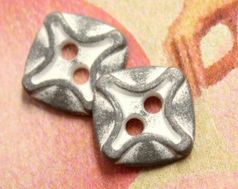 Metal Buttons - Rounded Square Metal Buttons , Gray White Color , 2 Holes , 0.43 inch , 10 pcs