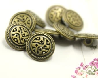 Metal Buttons - Rattan and Stars Metal Buttons , Antique Brass Color , 4 Holes , 0.59 inch , 10 pcs