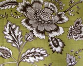 FRENCH COUNTRY floral avocado green/brown/white designer multipurpose fabric