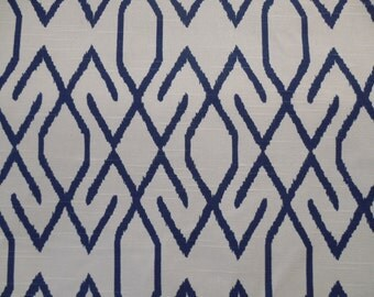 ZOE NAVY Ikat  designer, drapery/bedding/upholstery fabric