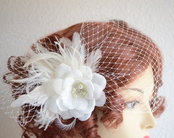 Bridal Birdcage Veil and flower headpiece,Chiffon flower,French netting Veil, Side pouf veil,Pearl and rhinestone with feathers,Style C086