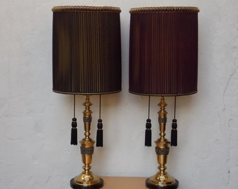 Pair Brass Hollywood Regency Large Brutalist Table Lamps Pleated Organza Shades