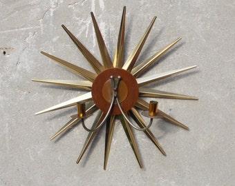 Atomic Brass Teak Starburst Wall Candle Sconce