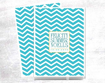 Teal Chevron Baby Memory Book, Personalized with Baby's Name and Birthdate