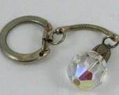 Vintage 60s Silver & Aurora Borealis Jeweled Rhinestone Glamour Girl Keychain