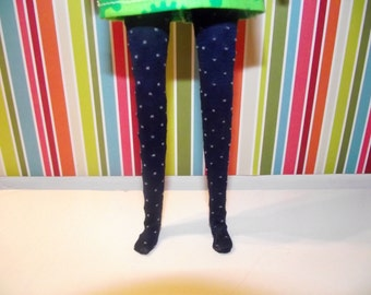 Dark navy blue with pale yellow dots tights leggins for Pullip doll