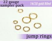 126 pcs 22g gold fill sampler pack jump rings 22 gauge designer assorted jumprings 22gsamp 14k gold filled rings findings links