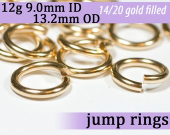 12g 9.0mm ID 13.2mm OD gold filled jump rings -- 12g9.00 goldfill jumprings 14k goldfilled