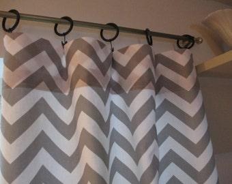 SALE  Curtain Panels 25 x 63 Grey zigzag
