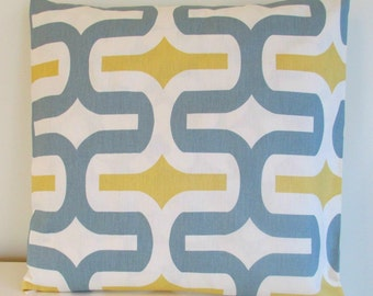 SALE Two Pillow Covers 18 x 18 Saffron Yellow and Gray - Embrace